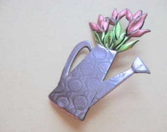 Watering Can brooch pin in lavender with pink tulips