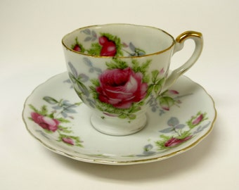 Lefton China Hand Painted Roses Tea Cup and Saucer