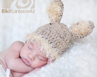 Baby Boy Hat -  Baby Bunny Hat - Baby Hat with Fluffy Ears & Trim