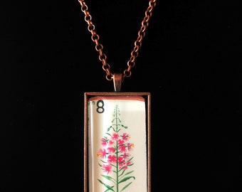 Bulgarian Flowers Postage Stamp Necklace | Bulgaria Jewelry | Vintage Stamp
