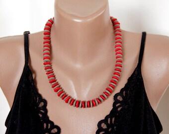 Boho necklace/red beigehandmade ceramic necklace