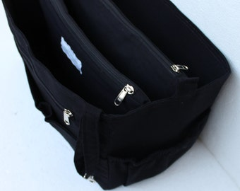Extra taller Bag organizer for Tote Bag - Purse organizer insert with two divider zipper compartment  fits LV Neverful MM