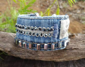 Beaded Denim Cuff Bracelet with Original Aeropostale Logo