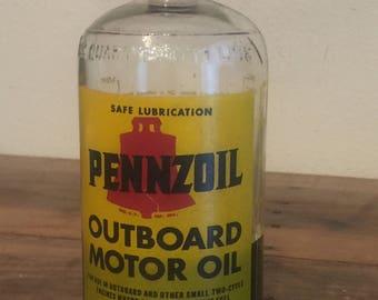Pennzoil 1950's Vintage Glass Oil Bottle