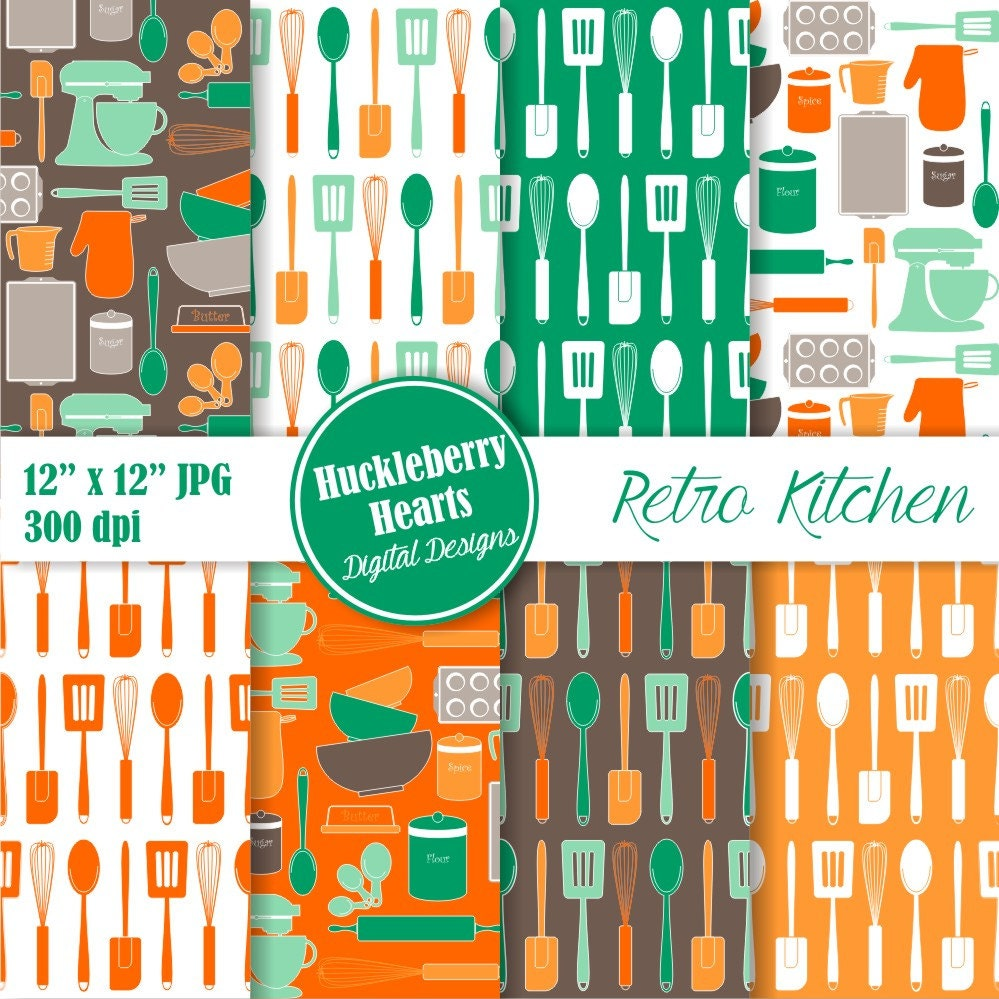 Retro Kitchen Baking Digital Paper Kitchen Scrapbook Paper