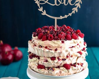 Wedding Cake Topper Love  Wreath  Rustic Wedding Cake Topper Wood Silver cake Topper Gold