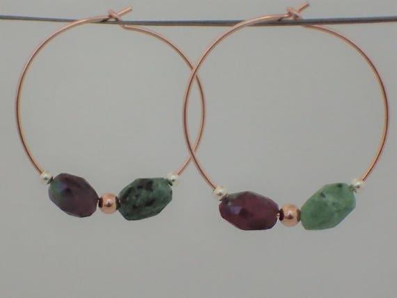 Ruby Zoisite Gemstone Hoop Earrings,  14k Rose Gold Filled