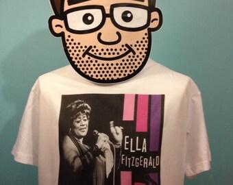 Ella Fitzgerald Jazz Music T-Shirt (Pink and Purple) - White Shirt