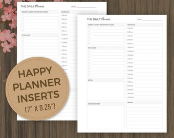 "Daily Planner, Happy Planner Inserts, Printable Pages, Daily Schedule, Hourly Planner, 7""x9.25"", Undated Printable, Daily Agenda,Day Planner"