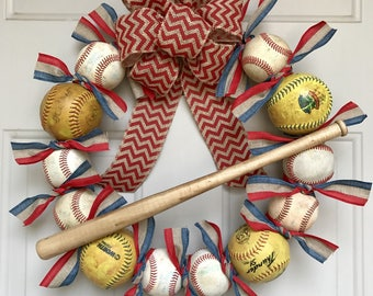Softball and Baseball Wreath