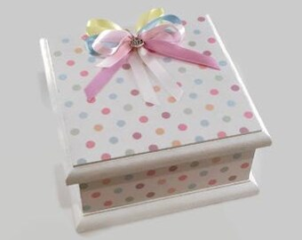 Baby Keepsake Box, Trinket Box, Treasure Box, Memory Box, Jewellery Box, Wooden Box - Dainty Polka Dots White