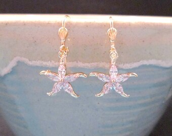 Cubic Zirconia Starfish Earrings, White and Gold Star Fish, Crystal Rhinestone Dangle Earrings, FREE Shipping U.S.