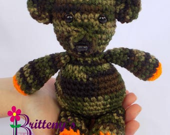 Camo Teddy Bear  Camo Teddy Bear Stuffed Animal  Crochet Teddy Bear Stuffed Animal  Crochet Plush Teddy Bear Toy  Teddy Bear Snuggly Pal