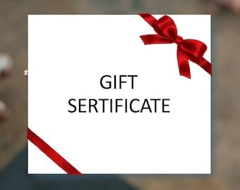 Gift card, gift certificate, last minute gift, 15/30/50/75 usd, Custom Gift Order, Anonymous Gift, Secret Admirer, Surprise Gift, Prepaid