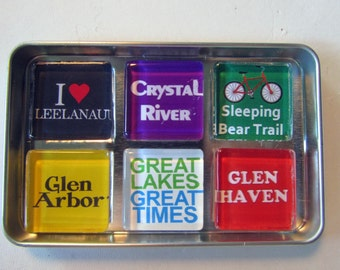 GLEN ARBOR Glen Lake Sleeping Bear Empire M22 Michigan - M22 Manitou Islands Up North Michigan Magnets Set, Northwest Michigan Souvenir