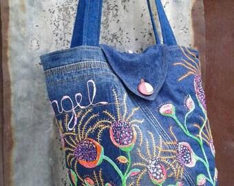 Beautiful Angel / Hand Stitching Freestyle Floral Embroidery Denim Shoulder Bag / Embroidered Bucket Shoulder Bag / Wild Anemone Love