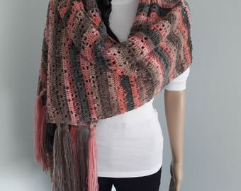 CROCHET WRAP - Grace Friendship Crochet Wrap, Pink Brown Grey Crochet Wrap, Crochet Shawl, Losangle Pattern, Made by Order