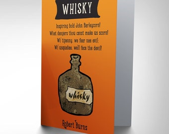 Whisky Card - Burns Quote Tam O'shanter Whisky Scotland Blank Greetings Card CP162