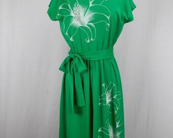 1970's Alfred Shaheen Bright Green Knit Dress XS