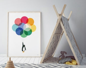 Mr Penguin Balloon Print - Muted Tones