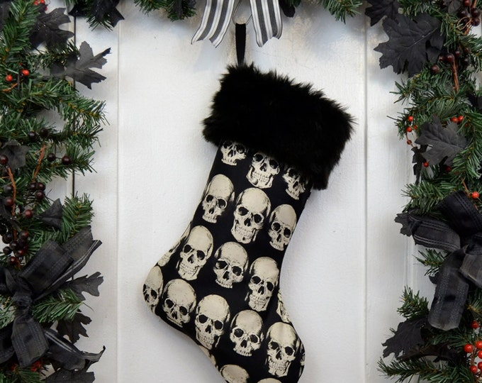 Goth Punk Halloween Christmas Stocking Realistic Anatomical Skull on Black, Black Faux Fur, Black Canvas Liner