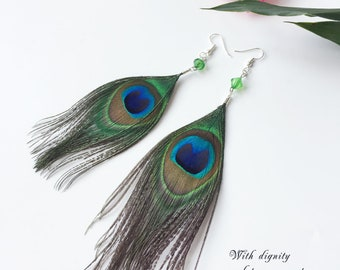 New Feather Earrings Of Natural Peacock Feather Earrings Crystal Beads Decoration