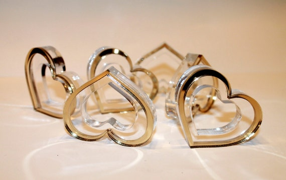Gold wedding napkin rings Heart napkin ring holders Valentines