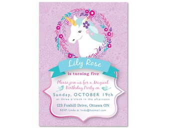 Unicorn Invitation, Unicorn Birthday Party, Printable, Customized, Unicorn Party, Unicorn girls birthday invite, pink and purple unicorn
