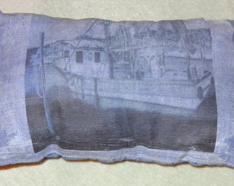 NEW Pillow very fluffy handmade and image of Fisherman boat drawing +long small pillow+2 free bonus gifts