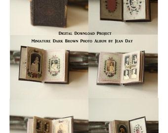 Scuro marrone Foto Album Dollhouse scala in miniatura, vittoriano Printable 01:12 libro scala download istantaneo progetto DH008