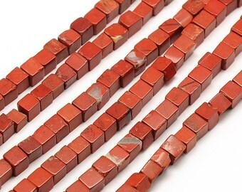 10 x 4mm red Jasper cube beads