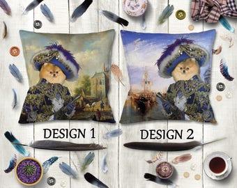 Pomeranian Pillow/Pomeranian Portrait/Pomeranian Art/Pomeranian Print/Personalized Dog Pillow/Custom Dog Portrait