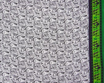 """Indian Dress Fabric, Human Print, White Fabric, Ethnic Fabric, Crafting, 43"""" Inch Georgette Fabric By The Yard ZGF97B"""