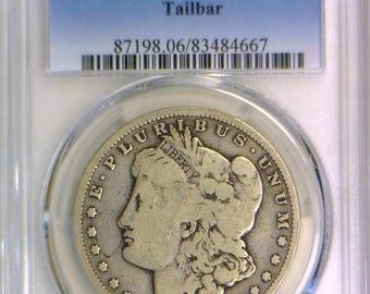 1890-CC Tailbar Morgan Dollar PCGS G-06; Looks VG