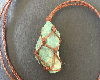 Raw chrysocolla necklace, macrame stone pendant, chrysocolla jewelry, gift for him/her, mens neckkace, hippie necklace