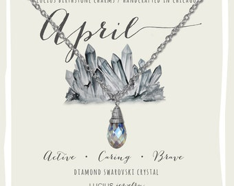 April Birthstone - April Birthstone Necklace - April Jewelry - Birthstone Necklace - Birthstone Jewelry - Swarovski Necklace