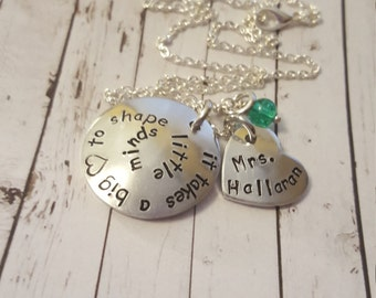 It takes a big heart to shape little minds teacher necklace, teacher gift, last day of school, teacher appreciation, metal stamped gift