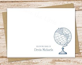 globe personalized note cards . notecards . world globe .  folded personalized stationery . vintage traveler history teacher . set of 8