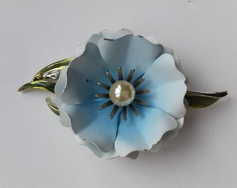 Vintage 1950s Coro Blue Flower Brooch and matching Earrings