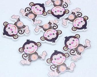 10 x Monkey Buttons 30mm x 28mm