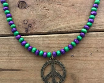 Peace Sign Wood Bead Necklace