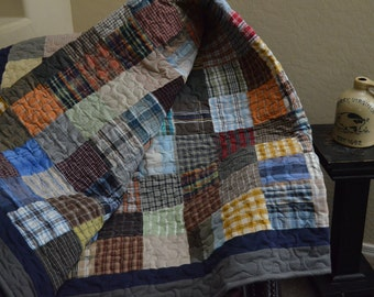 Quilt  UpCycle RePurpose ReUse GREEN Men's Plaid Dress Shirt Warm Multi Colors FULL Made to Order