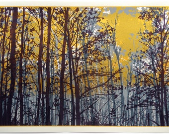 Screen print called Golden Sunlight. Limited edition artwork. Handmade - forest - nature - trees - flowers