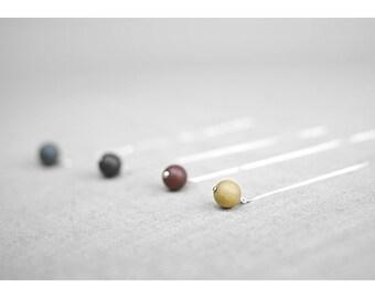 Clay pearl threader earrings, Ceramic earrings Pearl threader earrings Silver threader earrings Black earrings Everyday earrings-boohua