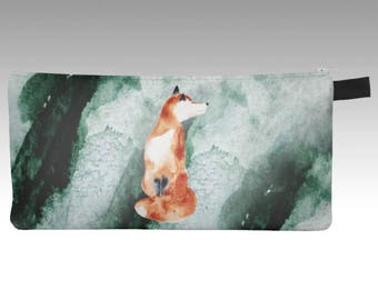 Small pencil case-pouches Watercolor Fox Green
