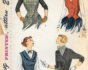 Size 12-Simplicity 3298 1950s Misses Weskit and Jacket Vintage Sewing Pattern Collared Vest