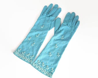 Vintage turquoise beaded gloves, longer than wrist length, size 6.5, small size, nylon, one way stretch, circa 1960s