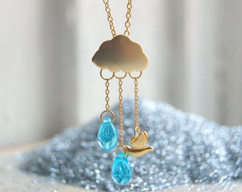 Rain cloud necklace Rain storm necklace Delicate blue necklace Whimsical necklace gold Boho rain necklace Nature lover gift Galentines day
