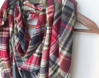 Blanket Scarf for Women Valentine Day Gift Plaid Scarf Red Green, Oversized Scarf Colorful Flannel Cotton Scarf Girlfriend Gift For Daughter