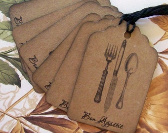 Tags House Warming Home Made Baked Goods Vintage Style Bon Appétit Party Favor Treat Bag Tag T047